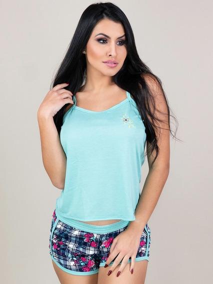 Kit 3 Pijamas Curto Adulto Feminino Blusa Regata E Short