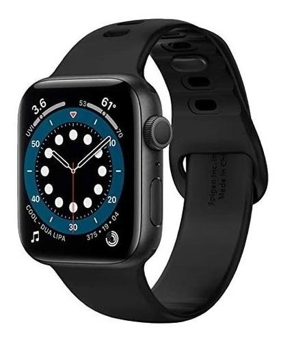 Imagen 1 de 6 de Malla Spigen Silicone Fit Apple Watch 40mm O 38mm Negra