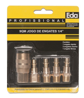 Kit 5 Pçs Engate Rapido 1/4 E Pinos (niples) Compressor