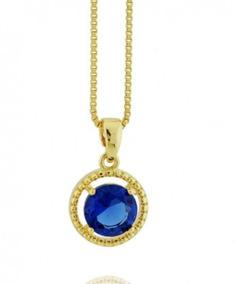 Colar Banhado Ouro 18k Cristal Safira Dourado Sku:10491