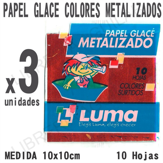 3 Paquetes De Papel Glace Colores Metalizados