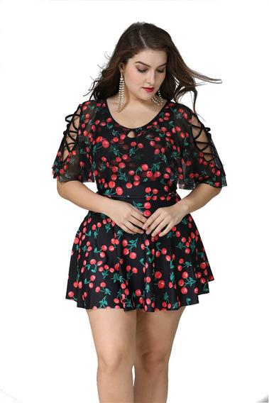 Traje De Baño Vestido Cherry Xl A 3xl 2 Piezas Envio Gratis