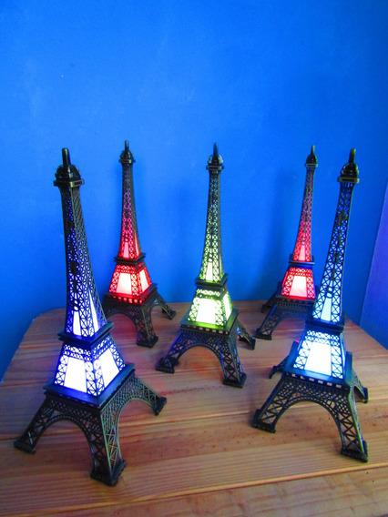 15 Torres Eiffel Francia Metal 18 Cm Con Luz Led De Colores