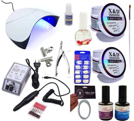 Kit Manicure Unhas Gel Led Uv Xed Motor Profissional Oferta
