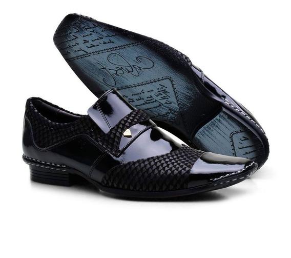 Sapato Social Masculino Calvest Com Elástico Costuras Manuais
