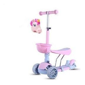 Patinete Scooter Infantil 3 Rodas Led Cesta Unicórnio Rosa