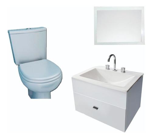 Imagen 1 de 5 de Combo Para Baño Simple Espejo Inodoro Pringles Vanit- Cuotas