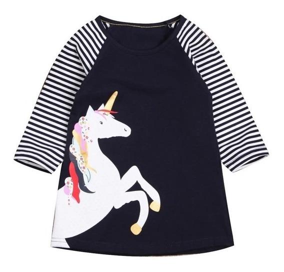 Blusón Para Niñas Bebés Estampado Unicornio Manga Larga