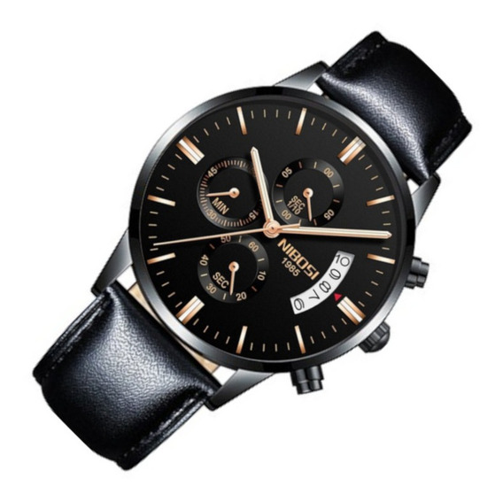 Relógio Masculino Nibosi 2309 Resis Água Couro Preto Casual