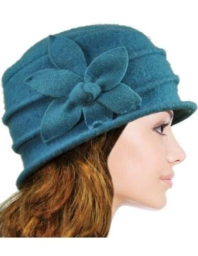 Dahlia Sombrero Flor De Lana Para Mujer Azul