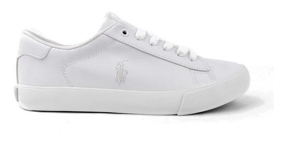Tenis Polo Ralph Lauren Unisex Tipo Vinipiel Color Blanco