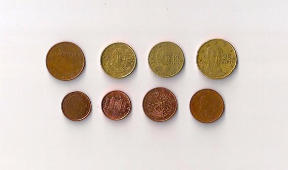 Lote De 8 Monedas De Euros Diferentes Países