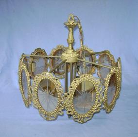 Lustre Em Bronze Com Vidros Lapidados - 5 Lampadas Teto