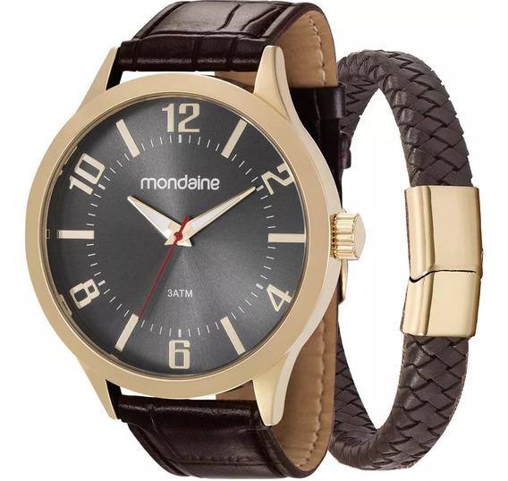 Relógio Mondaine Masculino Couro - 83409gpmvdh1k1 + Pulseira