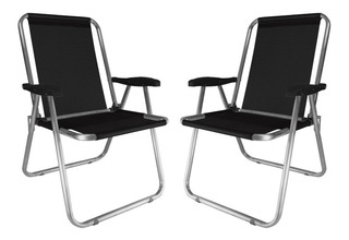 Kit 2 Cadeira Max Alumínio Oversize Reforçada Praia 140kg