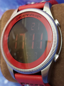 Relógio Digital Original Armani Ar-0538 Couro Vermelho