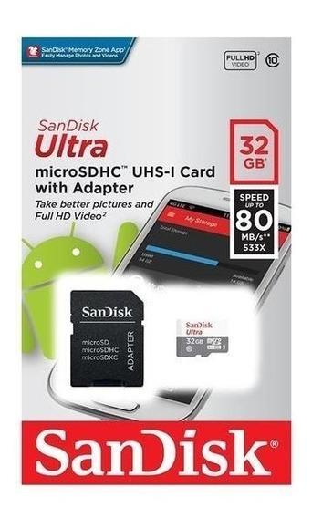 Cartão De Memória 32gb Cl 10 Sandisk Original Micro Sd Nf-e