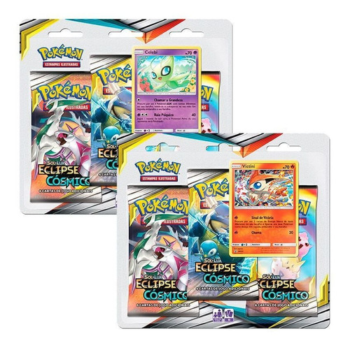 Pokémon 2 Triple Pack Sm12 Eclipse Cósmico Victini E Celebi