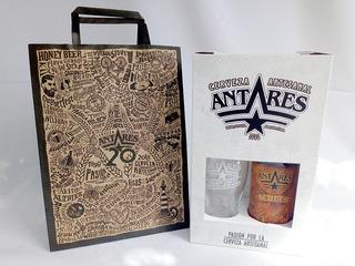 Caja Regalo + Vaso Pinta + Bolsa + Cerveza Antares Scotch