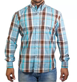 5b74e0466 Camisa Tuff Manga Longa Xadrez Verde Água Tam P