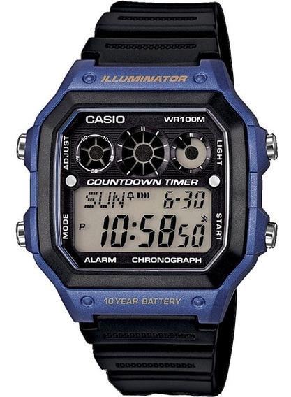 Relogio Casio Ae 1300wh-1/2/4 Digital Quadrado Borracha Cronometro Timer Original Nf Garantia Pronta Entrega