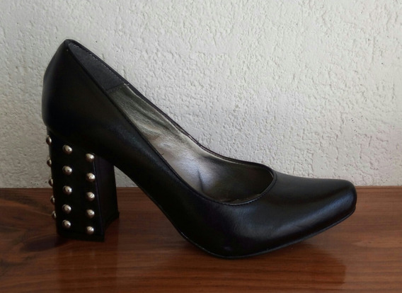 Zapatos De Vestir Cuero Taco Cuadrado Y Tachas