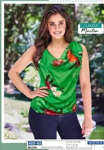 Blusa Dama Cklass 422-82 Floral Verde Sexy Oi-19 Casual