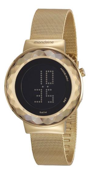 Relógio Mondaine Feminino Digital Dourado Original Nf-e