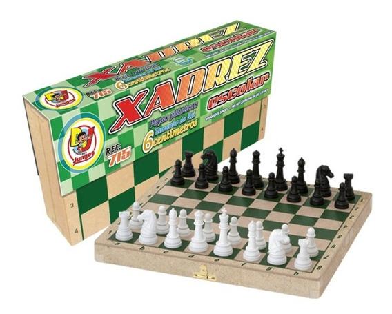 Jogo De Xadrez Escolar Com Estojo E Tabuleiro Em Madeira 715