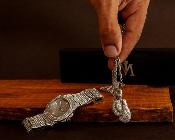 Relógio + Colar Cravejados Com Zirconia (aço Inoxidável)