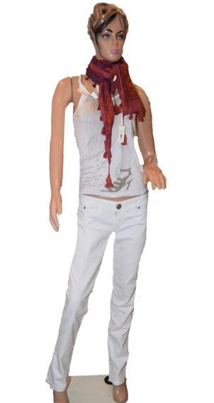 47 Ossira Pantalon De Jean Color Blanco Con Cierre Atras