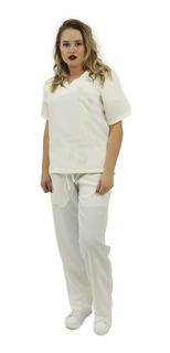 Pijama Cirúrgico Oxford Feminino Básico (marfim) 23
