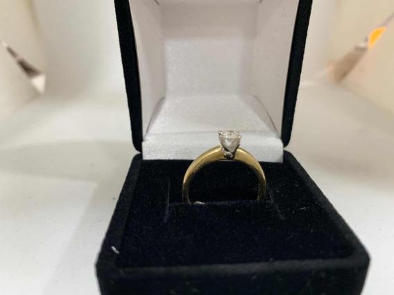 Anillo Compromiso 30pts Diamante Oro Dorado/blanco +regalo