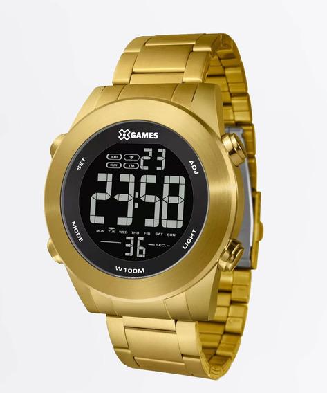 Relógio Masculino Digital Dourado Fundo Negativo Esportivo