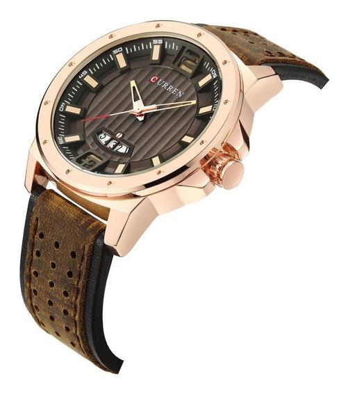 Relógio Masculino Curren Dourado Social Pulseira Em Couro