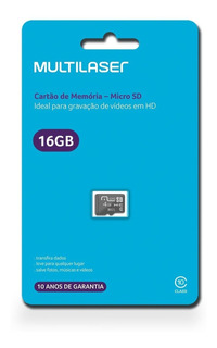Cartão De Memória Micro Sd 16gb Classe 10 Mc143