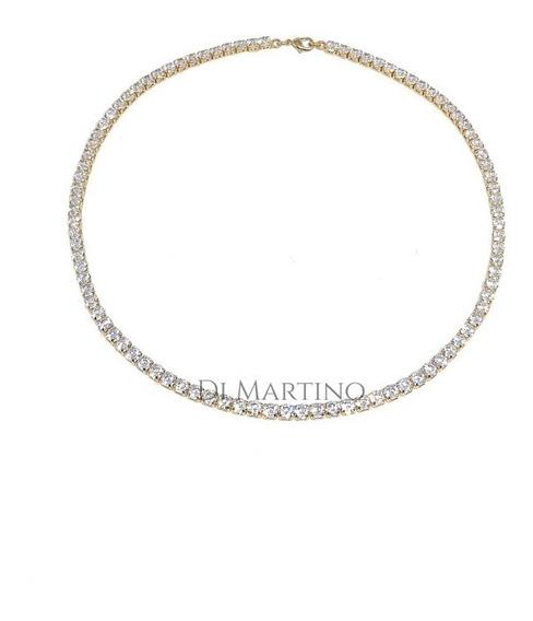Colar Curto Riviera De Zirconias 4mm Em Banho Ouro18k.
