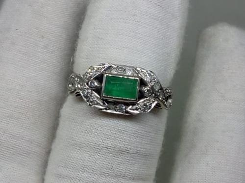 a467c2f9a938 Anillo De Plata Paladio Con Esmeralda Y Diamantes Naturales