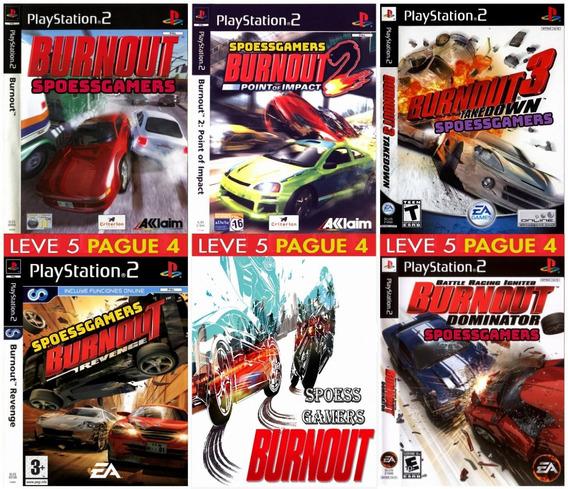 Burnout Ps2 Coleção (5 Dvds) Carros Corrida Patch - Pague 4
