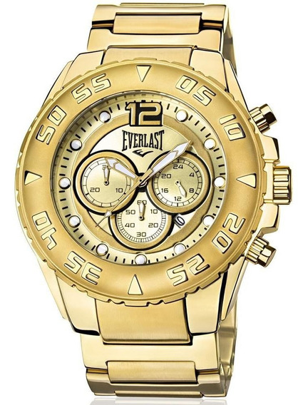 Relógio Everlast Masculino E631 Big Case Cronógrafo Dourado