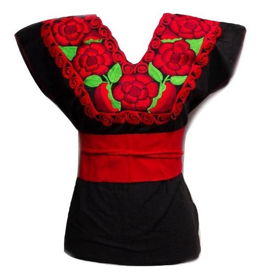Blusa Artesanal Mexicana Bordada Con Rosas Chiapas Mediana Con Cintillo