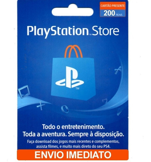 Cartão Playstation Store 200 Reais( R$100+ R$100) Psn Brasil