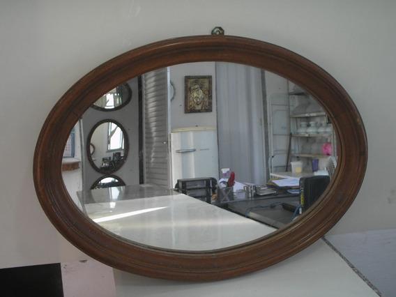 Antigo Grande Espelho Oval 67 Cm Anos 50 Madeira Cerejeira