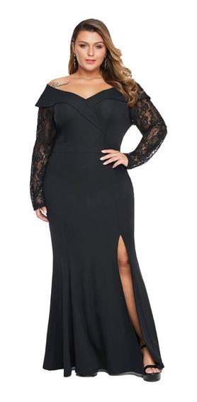 Vestido De Fiesta Tallas Grandes Color Negro Manga Larga
