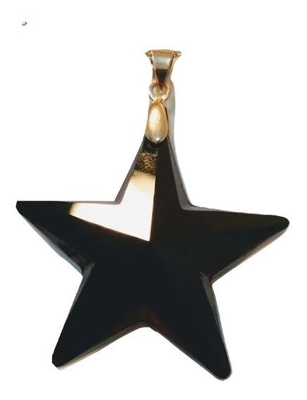 Pingente Estrela Preta Cristal Swarovski Folh A Ouro 4,0 Cm