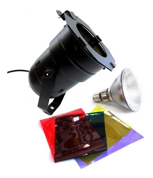 Canhão Refletor Par 38 Preto Com Lâmpada 120w + Gelatina