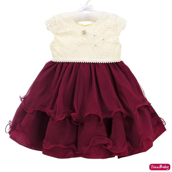 Vestido Infantil Realeza Vermelho Marsala Daminha 1 A 3
