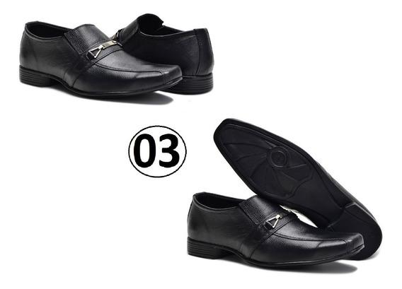 Kit 3 Pares Sapato Masculino Social Conforto Couro Promoção