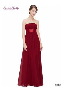 Vestido Ever-pretty Dama De Honra Importado Vermelho Escuro