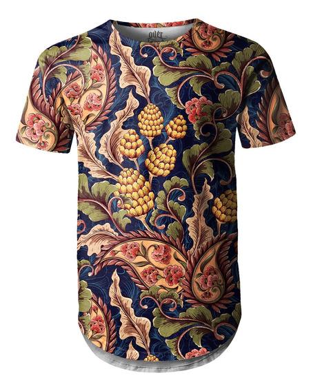 Camiseta Masculina Longline Oversized Vintage Floral Swag
